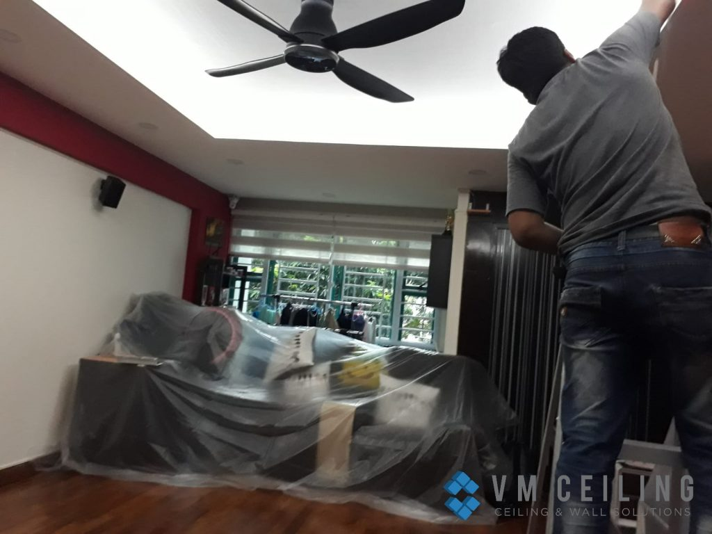 Living Room False Ceiling Downlights Installation vm ceiling Singapore HDB Admiralty 2