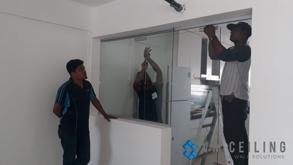 kitchen viewing glass sliding glass door vm ceiling singapore hdb yishun 4