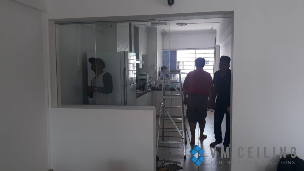 kitchen viewing glass sliding glass door vm ceiling singapore hdb yishun 5