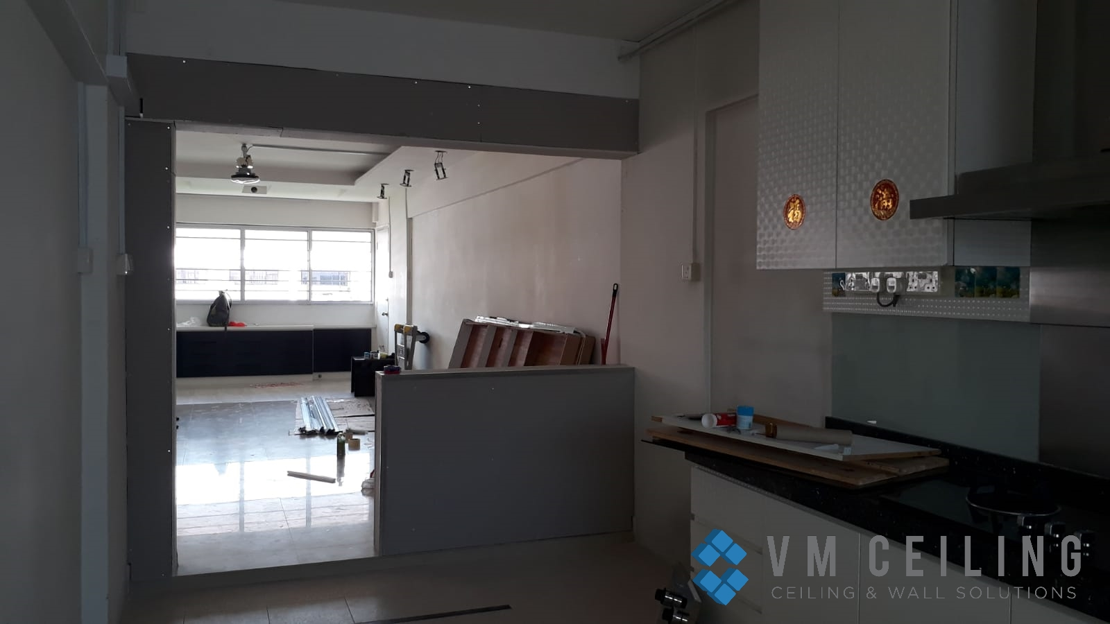 kitchen viewing glass sliding glass door vm ceiling singapore hdb yishun