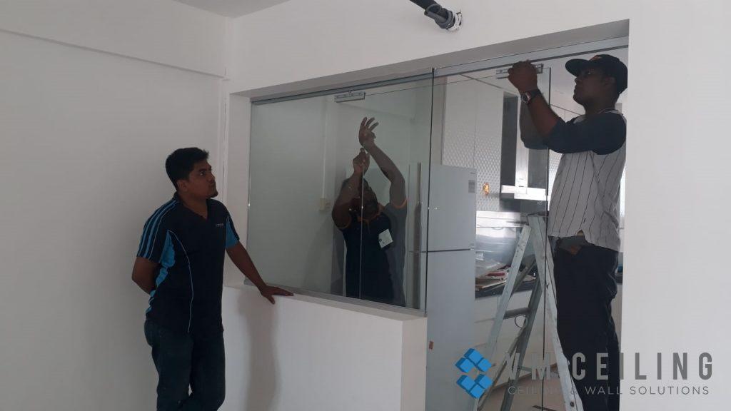 kitchen viewing glass sliding glass door vm ceiling singapore hdb yishun 4